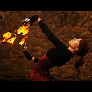 meitene ar uguni